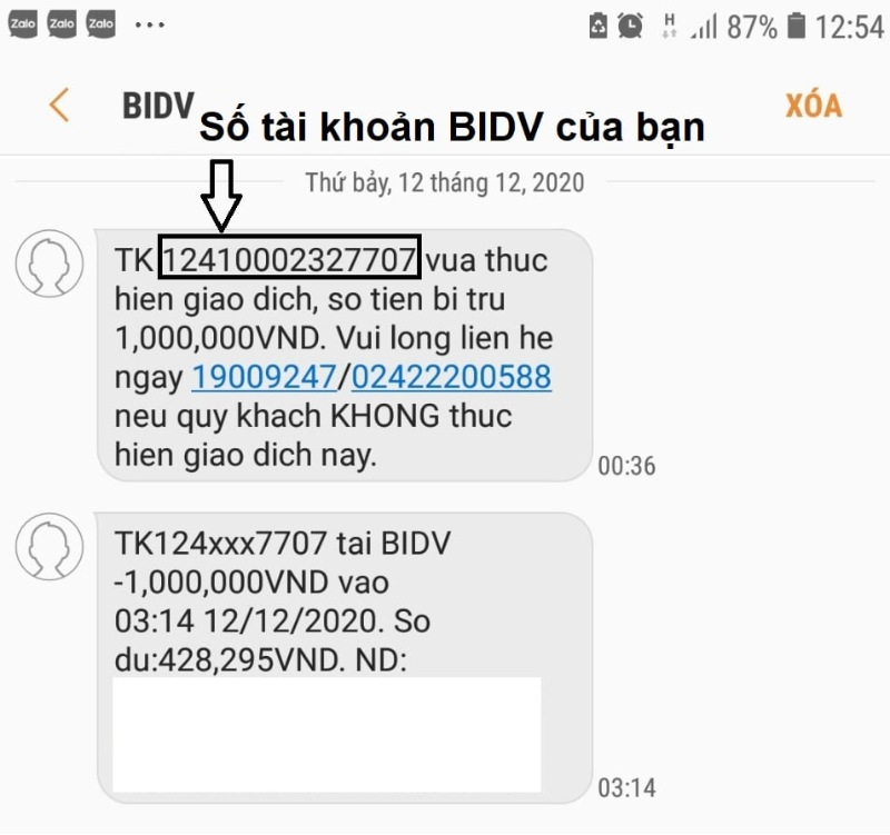 Tra cứu tài khoản qua SMS Banking