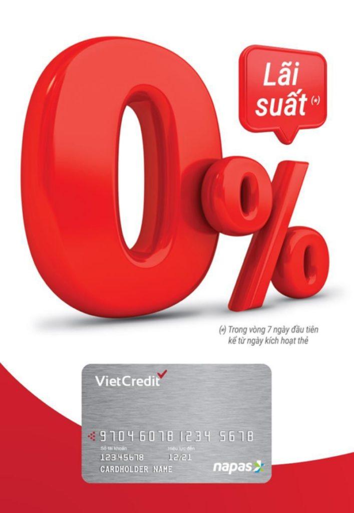 Tiền lãi ở thẻ vay VietCredit sẽ được tính từ 3% – 4.58%/ tháng