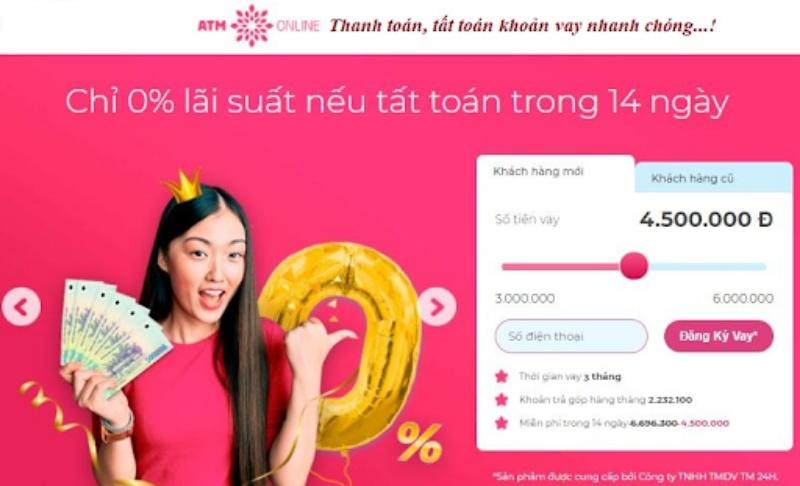 ATM Online đang áp dụng mức lãi suất với nhiều ưu đãi