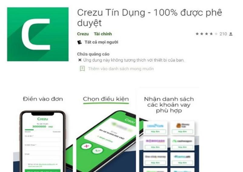 Vay tiền nhanh tại app Crezu